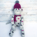 'Betty' the Sock Monkey - grey with burgundy and black - *MADE TO ORDER*