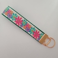 Green and pink flower key fob wristlet