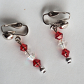 Red and white drop earrings, silver lever clip on