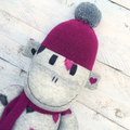 'Betty' the Sock Monkey - grey with burgundy and black - *READY TO POST*