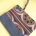BUSHFIRE Purple blue white retro print iPad sleeve paired with brushed denim and