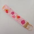 Pink butterfly key fob wristlet