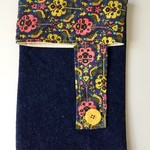 Yellow and pink floral liberty print denim coin purse pouch