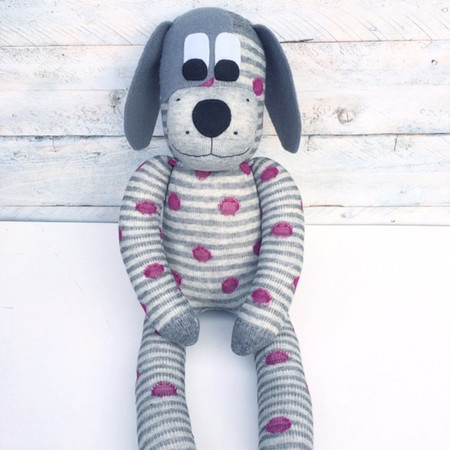 'Dusty' the Sock Dog - grey with burgundy spots - *READY TO POST*