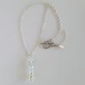 Round aqua fluorite & sterling silver drop necklace