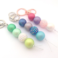 Beaded Keychain, Chunky Key chain, Bag Charm, Bag Bling, Bubblegum Key ring