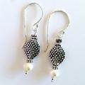 Shapely sterling silver & pearl bohemian dotty earrings