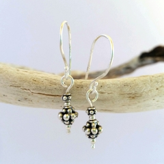 Small silver Bali drop earrings