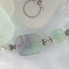 Sea green fluorite & sterling silver boho pendant necklace