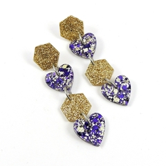 Hexagons & hearts dangle earrings - gold and purple mix