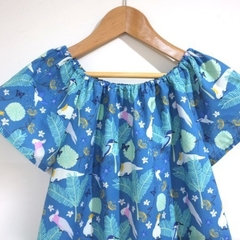 dress - teal Australian cockatoo galah / cotton boho peasant-style / 2-3 years