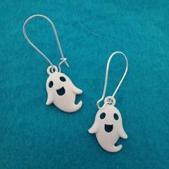 White ghost charm earrings