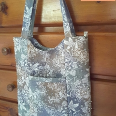Beaded and Quilted Tote Bag with Pockets | Floral Shoulder Bag Grey