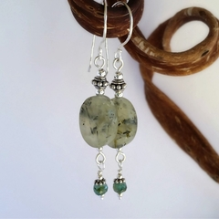 Prehnite and silver dangle earrings