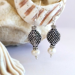 Shapely sterling silver & pearl bohemian dotty earrings