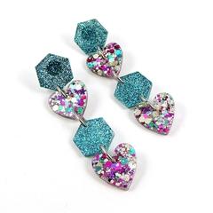 Hexagons & hearts dangle earrings - aqua and purple, gold, blue mix
