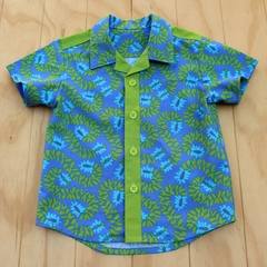 Boy's Button up Shirt - Divine Blue - Size 4