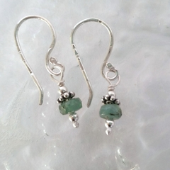 Minimalist silver and tourmaline drop earrings
