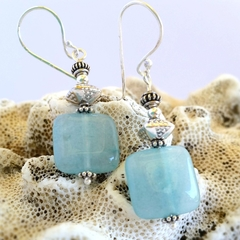 Aqua jade & sterling silver dangle earrings