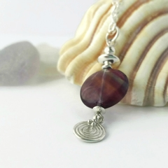 Purple fluorite & sterling silver pendant necklace with charm