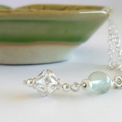 Round aqua fluorite & sterling silver drop necklace