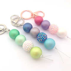 Beaded Keychain, Chunky Key chain, Bag Charm, Bag Bling, Bubblegum Key ring