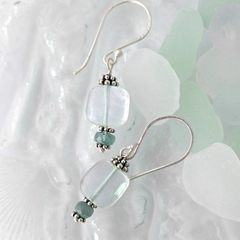 Sea green fluorite & sterling silver boho dangle earrings