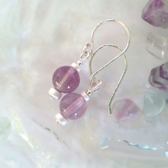Round fluorite & sterling silver dangle earrings