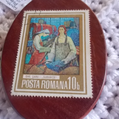 Brooch handcrafted from reclaimed hardwood and vintage Romanian stamp ON SALE!!!