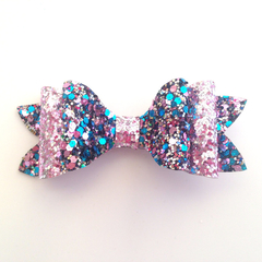 Chunky Glitter Hair Bow, Girls Hair Clip, Fabric Bow, Leatherette Bow