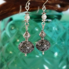 Long dangle Bali boho silver earrings