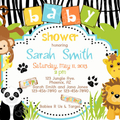 Jungle Theme print at home baby shower invitations