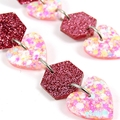 Hexagons & hearts dangle earrings - pink, peach, white mix