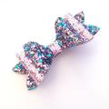 Chunky Glitter Hair Bow, Girls Hair Clip, Fabric Bow, Leatherette Bow
