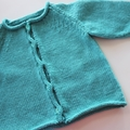 Aqua Cardigan Size 3 years - Hand knitted in pure wool