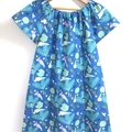 dress - teal Australian cockatoo galah / cotton boho peasant-style / 5 years