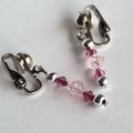 Silver/pink/dark pink drop earrings, silver clip on