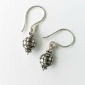 Small boho sterling silver oxidized drop earrings