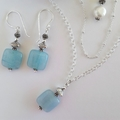 Layered aqua jade & pearl sterling silver necklace
