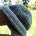 crocheted hat with brim made from pure wool yarn kid's size ON SALE
