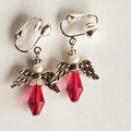 Angel earrings, red with silver lever clip on.
