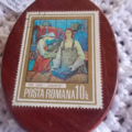 Brooch handcrafted from reclaimed hardwood and vintage Romanian stamp