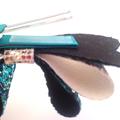 Chunky Glitter Fabric Bow, Leatherette Hair Bow, Girls Hair Clip - Teal