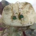 Minimalist silver and tourmaline drop earrings