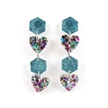 Hexagons & hearts dangle earrings - aqua and purple, gold, blue mix