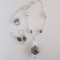 Long sterling silver and pearl bohemian statement necklace