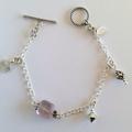 Silver & fluorite charm bracelet