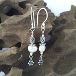 Oxidized sterling silver and pearl dangle earrings