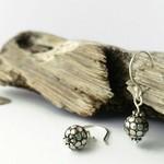 Small boho sterling silver oxidized drop earrings