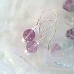 Round fluorite & sterling silver dangle earrings
